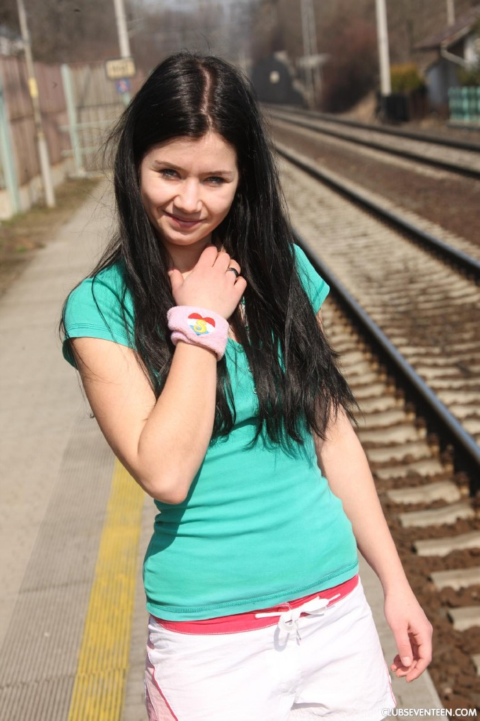ClubSeventeen.com - Jaqueline D - Masturbating at the train station [HD 720p]