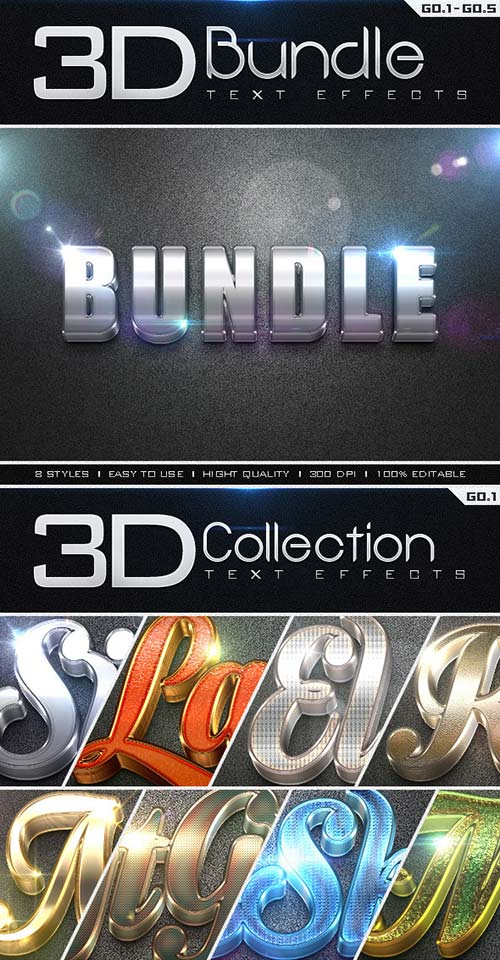 GraphicRiver 3D Collection Text Effects Bundle