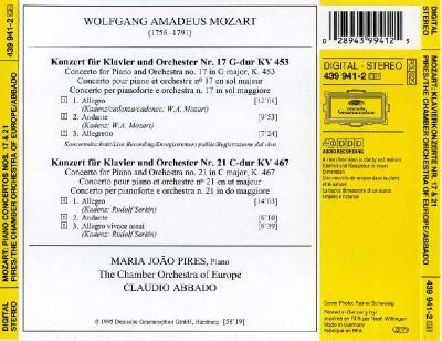 Maria Joao Pires (piano) – Mozart, Piano Concertos nos.17&21 (The Chamber Orchestra of Europe, Claudio Abbado) / 1995 DG