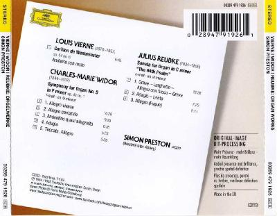 Widor: Symphony NO.5; Vierne: Carillon; Reubke: Sonata (Simon Preston, organ) / 2013 DG